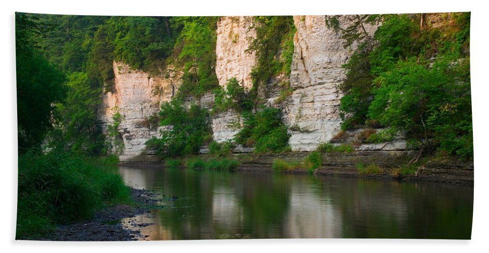 Photography Bath Sheet featuring the photograph Limestone Bluffs Along Upper Iowa by Panoramic Images
