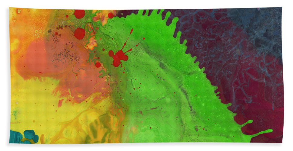 Abstract Painting Bath Sheet featuring the painting Limey by Kasha Ritter