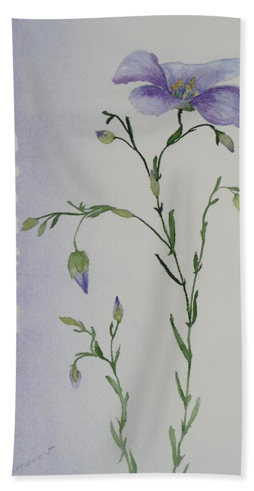 Flower Bath Towel featuring the painting Linacea by Ruth Kamenev