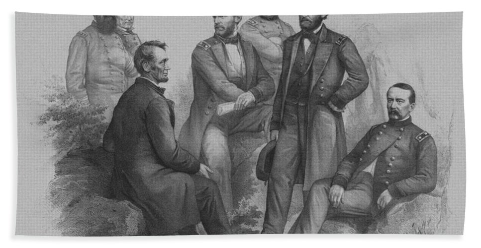 Civil War Bath Sheet featuring the drawing Lincoln And His Generals by War Is Hell Store