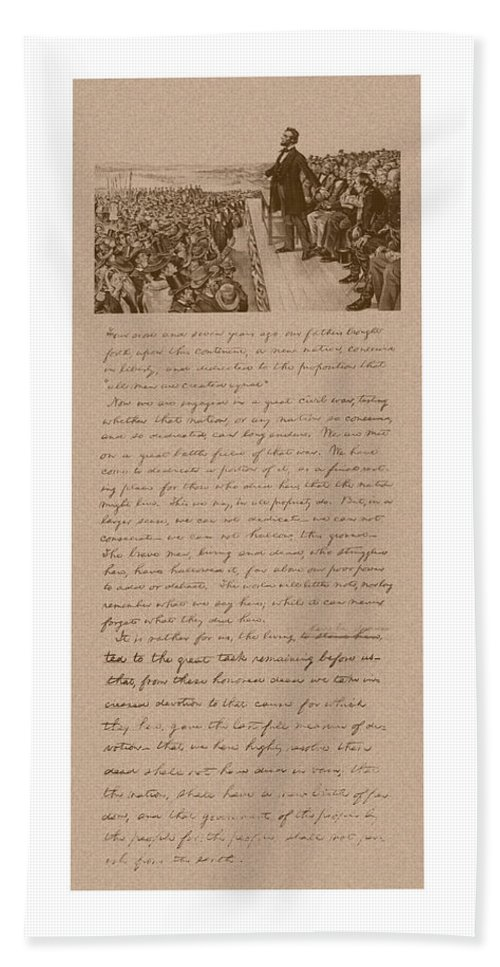 Abraham Lincoln Bath Towel featuring the mixed media Lincoln And The Gettysburg Address by War Is Hell Store