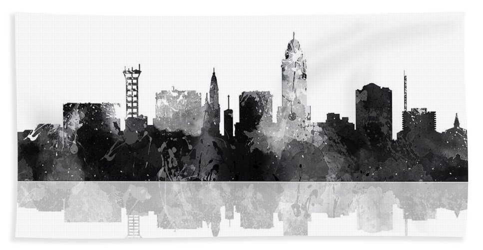 Lincoln Nebraska Skyline Bath Sheet featuring the digital art Lincoln Nebraska Skyline by Marlene Watson