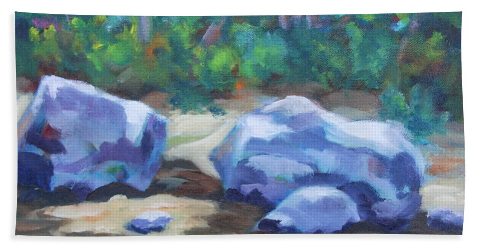 Expressionist Landscape Bath Sheet featuring the painting Lindenlure by Jan Bennicoff