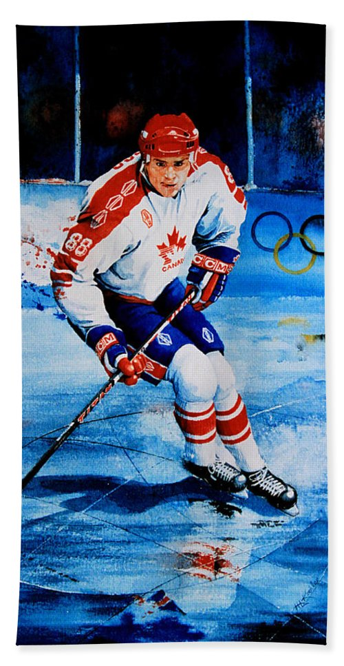 Sports Art Bath Sheet featuring the painting Lindros by Hanne Lore Koehler