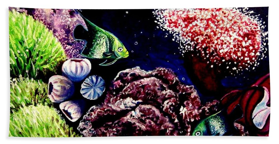 Fish Hand Towel featuring the painting Lindsay's Aquarium by Elizabeth Robinette Tyndall