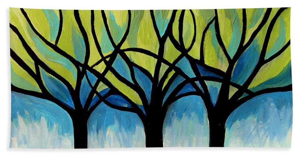 Tree Bath Sheet featuring the painting Lineage by Elizabeth Robinette Tyndall