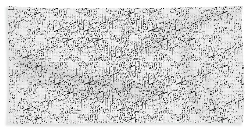 Patterns Bath Sheet featuring the tapestry - textile Linear Bulbs Pattern Whitesilver Black by Christine McCole