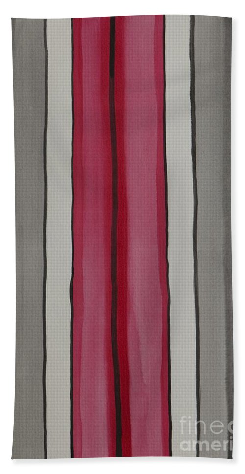 Red Bath Towel featuring the painting Lines by Jacqueline Athmann