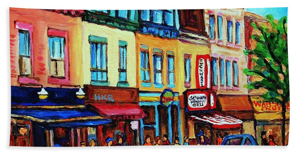 Cityscape Bath Towel featuring the painting Lineup For Smoked Meat Sandwiches by Carole Spandau