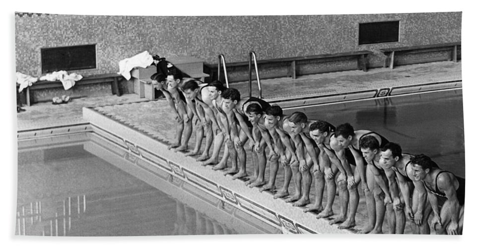 1920s Hand Towel featuring the photograph Lineup Of Ncaa Men Swimmers by Underwood Archives