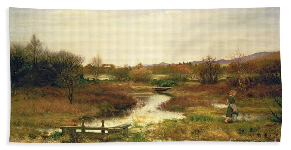 Lingering Autumn Hand Towel featuring the painting Lingering Autumn by Sir John Everett Millais