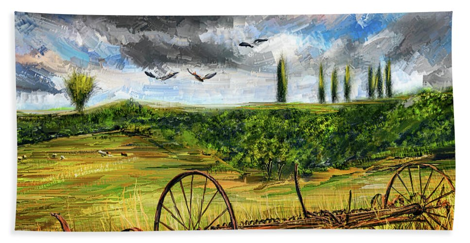 Vintage Tractor Bath Towel featuring the painting Lingering Memories Of The Past - Pastoral Artwork - Antique And Vintage Farm Equipment by Lourry Legarde