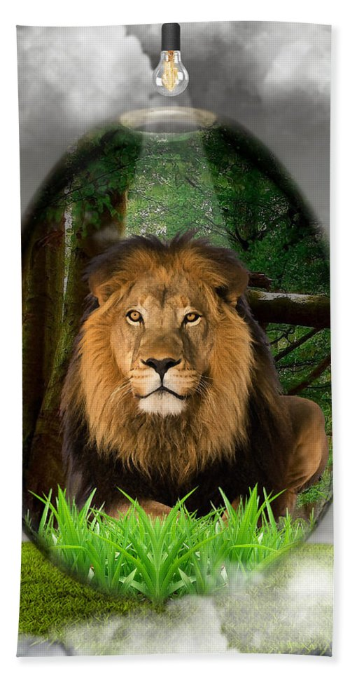 Lion Bath Sheet featuring the mixed media Lion Art by Marvin Blaine