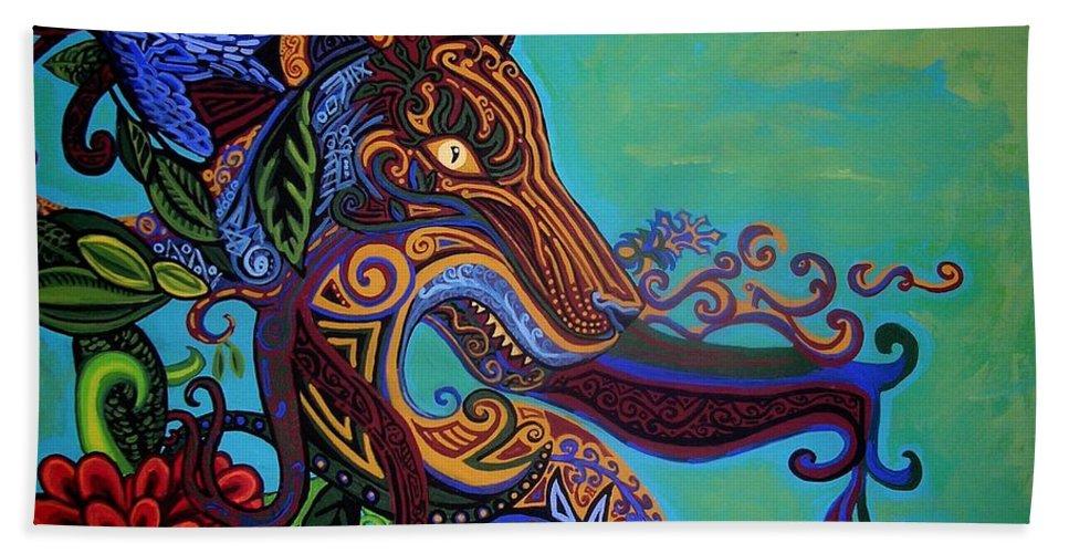 Gargoyle Lion Hand Towel featuring the painting Lion Gargoyle by Genevieve Esson