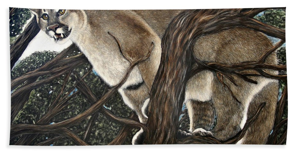 Lion Bath Sheet featuring the painting Lion In The Tree by Angie Cockle