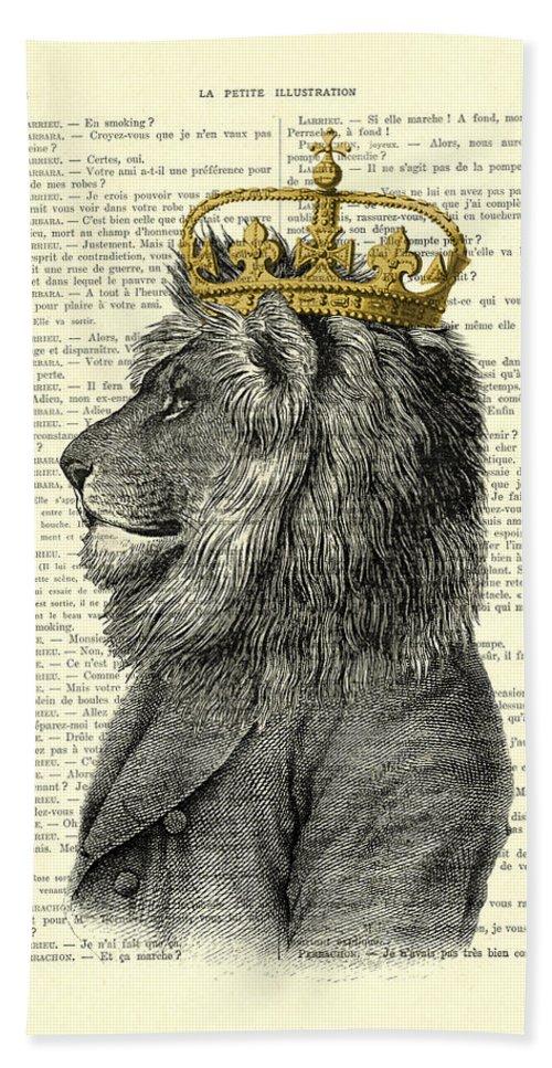 Lion Bath Towel featuring the digital art Lion King by Madame Memento