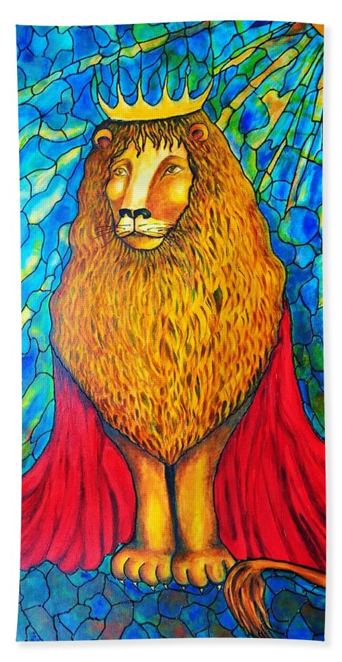 Original Art Hand Towel featuring the painting Lion-king by Rae Chichilnitsky