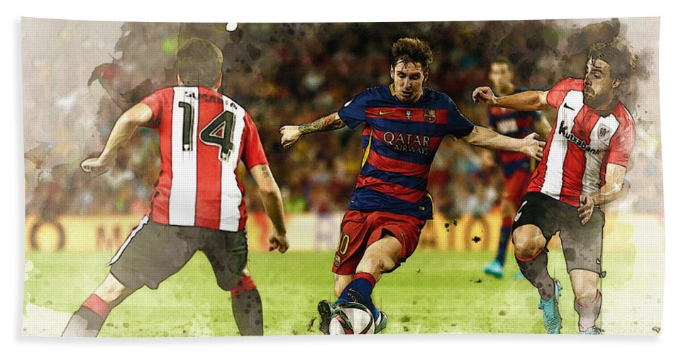 Home Art & Collectibles Bath Sheet featuring the digital art Lionel Messi Challenges The Athletic Bilbao Defense by Don Kuing
