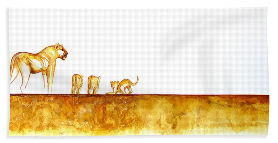 African Wildlife Bath Sheet featuring the painting Lioness And Cubs - Original Artwork by Tracey Armstrong