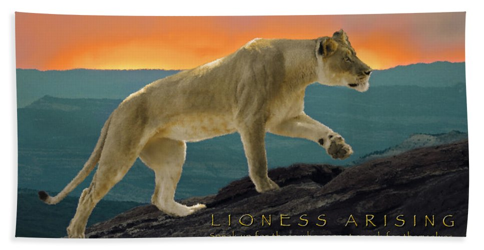 Lioness Arising Hand Towel featuring the photograph Lioness Arising by Constance Woods