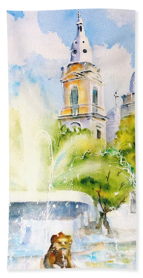 Puerto Rico Bath Sheet featuring the painting Lions Fountain Plaza Las Delicias Ponce Cathedral Puerto Rico by CarlinArt Watercolor