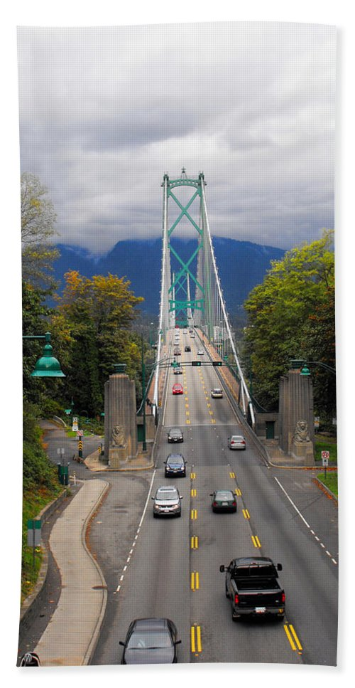 ruth Palmer Hand Towel featuring the photograph Lion's Gate Bridge by Ruth Palmer
