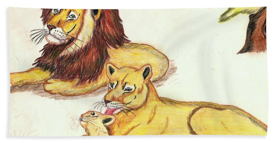 Lions Bath Sheet featuring the drawing Lions Of The Tree by George I Perez
