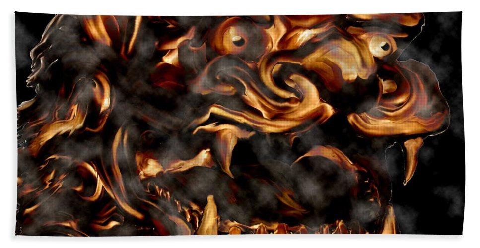 Leo Lion Goth Gothic Wild Emotion Feelings Animal Cloud Fierce Hand Towel featuring the digital art Lions Roar by Andrea Lawrence