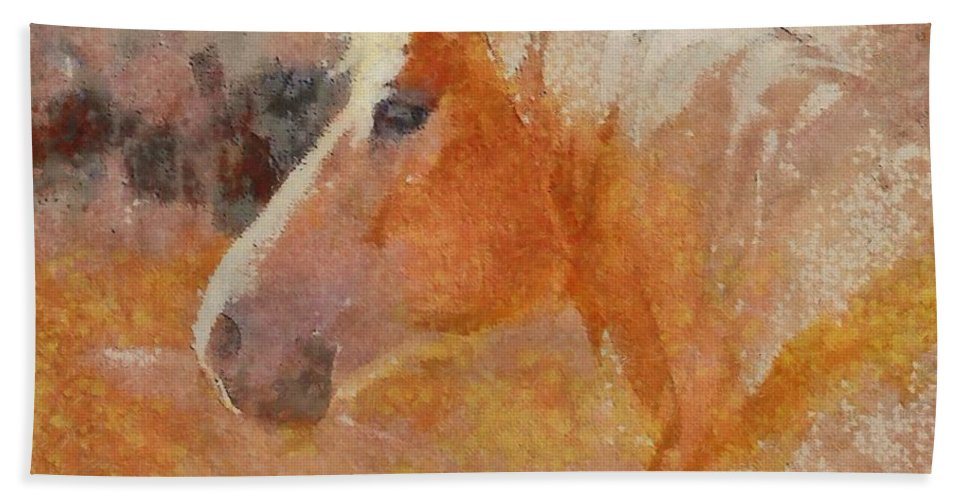 Lipizzian Hand Towel featuring the painting Lipizzian Horse by Dragica Micki Fortuna