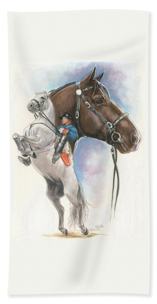 Spanish Riding School Bath Sheet featuring the mixed media Lippizaner by Barbara Keith