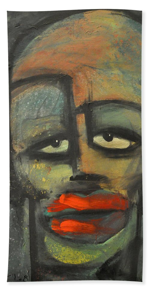 Lipstick Hand Towel featuring the painting Lipstick by Tim Nyberg
