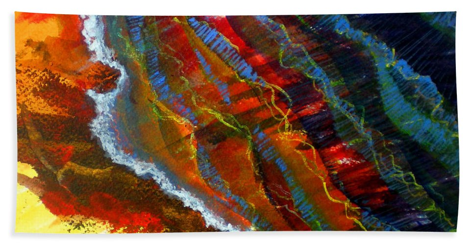 Iquid Bath Sheet featuring the painting Liquid Abstract Fifteen by Richard Rochkovsky