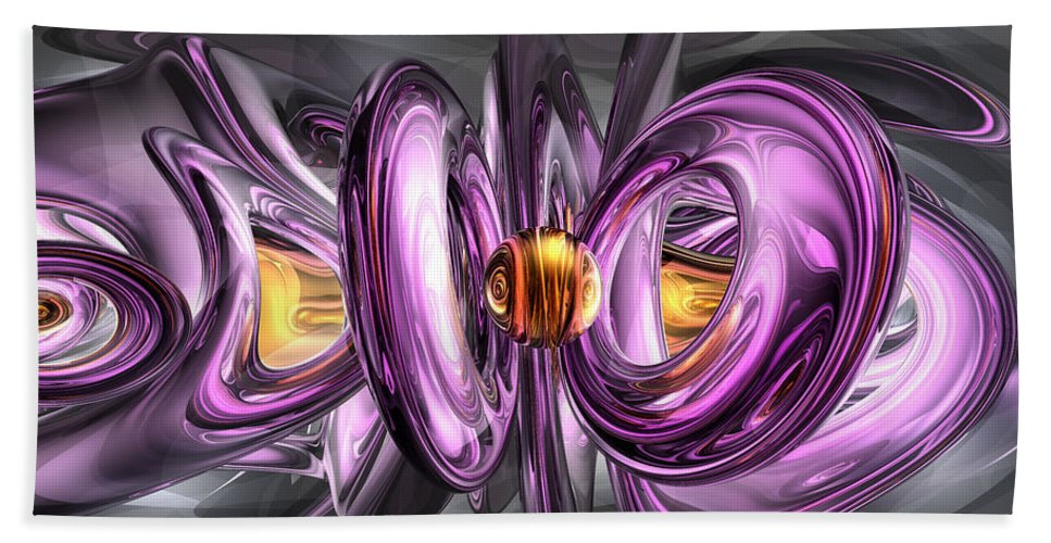 3d Hand Towel featuring the digital art Liquid Amethyst Abstract by Alexander Butler