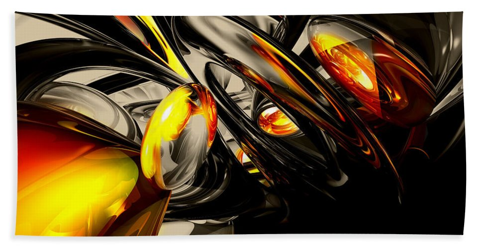 3d Bath Sheet featuring the digital art Liquid Chaos Abstract by Alexander Butler