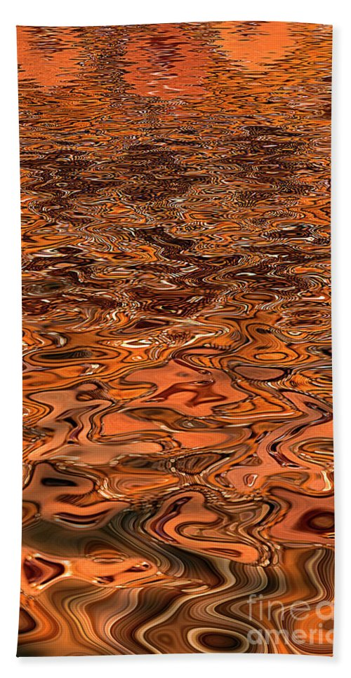 Water Hand Towel featuring the digital art Liquid Copper by Elisabeth Lucas