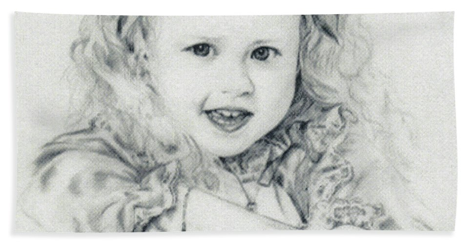 Portrait Bath Sheet featuring the drawing Lisa by Rachel Christine Nowicki