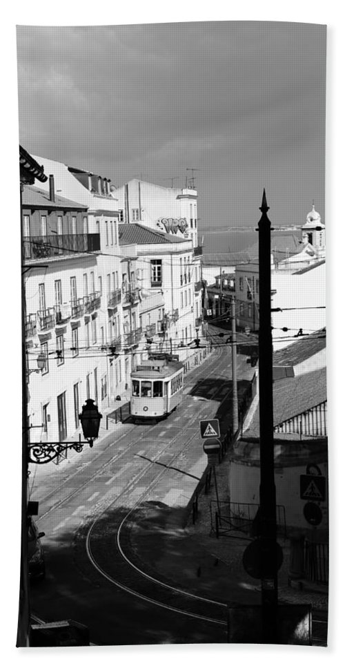 Trolley Hand Towel featuring the photograph Lisbon Trolley 17b by Andrew Fare