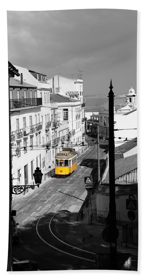 Trolley Hand Towel featuring the photograph Lisbon Trolley 17c by Andrew Fare