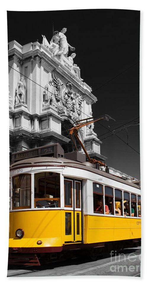 Lisbon Bath Sheet featuring the photograph Lisbon's Typical Yellow Tram In Commerce Square by Jose Elias - Sofia Pereira