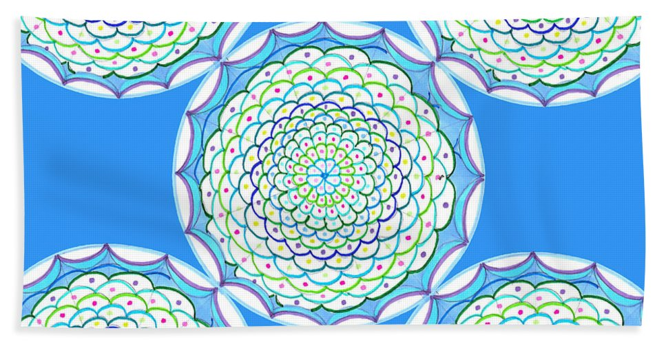 Mandala Hand Towel featuring the drawing Listen And Take Action I by Signe Beatrice