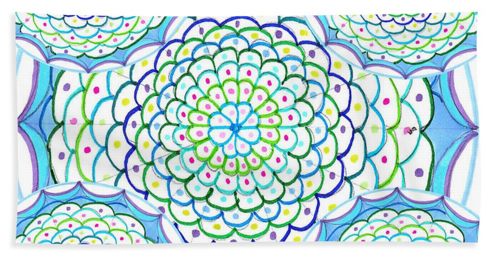 Mandala Hand Towel featuring the drawing Listen And Take Action II by Signe Beatrice