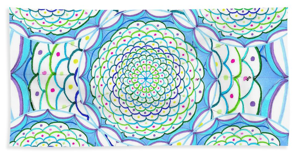 Mandala Hand Towel featuring the drawing Listen And Take Action Ill by Signe Beatrice