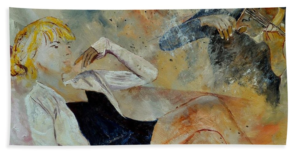 Misic Bath Sheet featuring the painting Listening To The Violin by Pol Ledent
