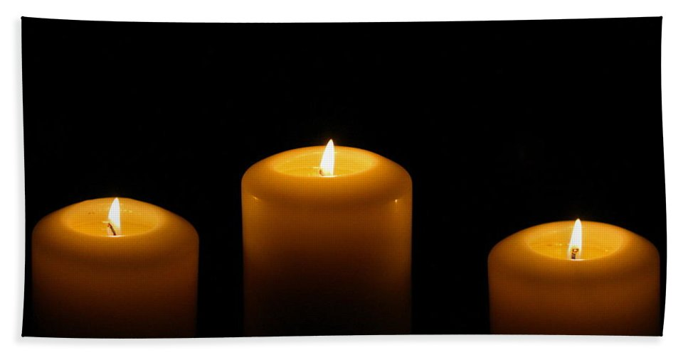 Candle Hand Towel featuring the photograph Lit by Angela Rath