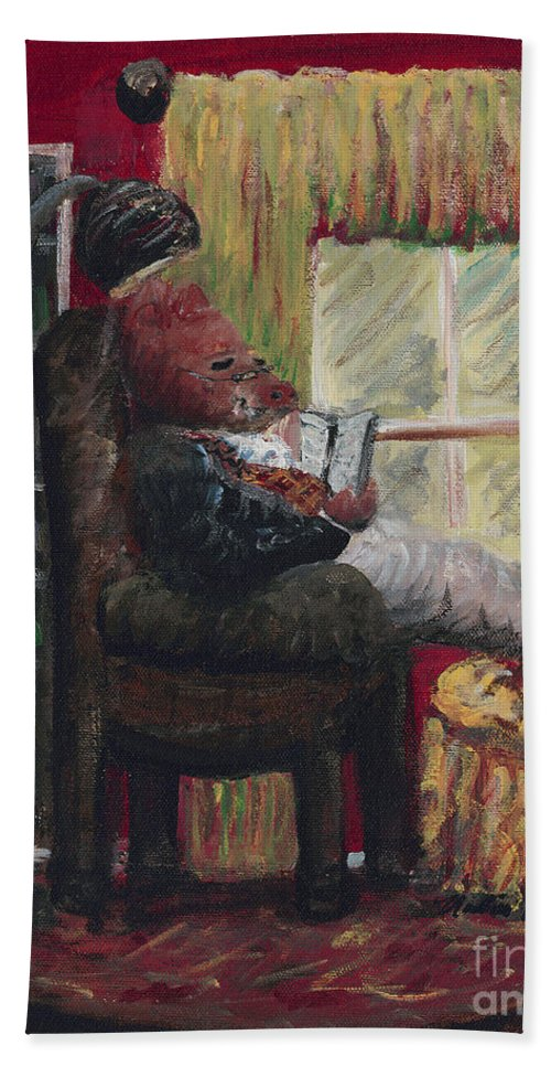 Hog Bath Towel featuring the painting Literary Escape by Nadine Rippelmeyer