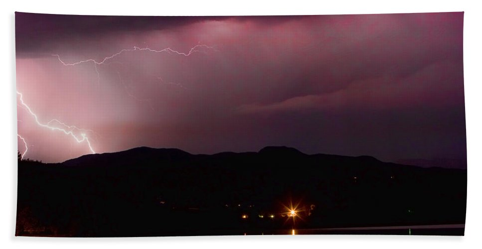 Lightning Hand Towel featuring the photograph Litghtning In The Air by James BO Insogna