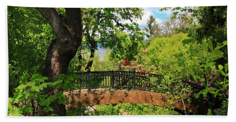 Ashland Creek Bath Sheet featuring the photograph Lithia Park Bridge by James Eddy