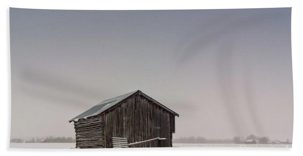 Copy Space Bath Sheet featuring the photograph Little Barn House On The Snowy Fields by Jukka Heinovirta
