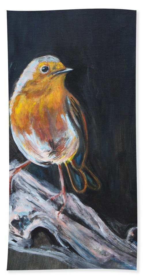 Bird Bath Towel featuring the painting Little Bird by Denice Palanuk Wilson