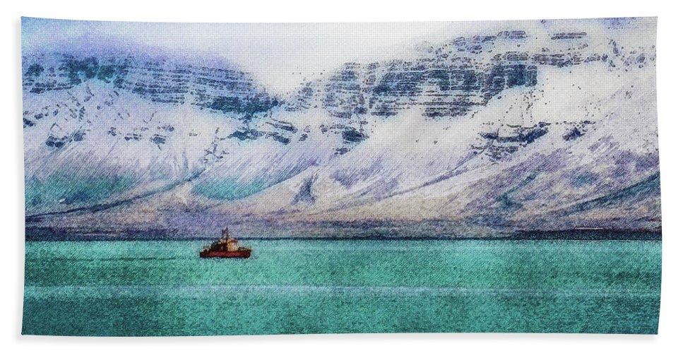 Iceland Hand Towel featuring the digital art Little Boat In Reykjavik Bay by Frans Blok